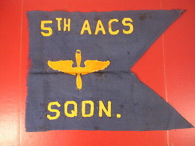 WWII Era USAAF Army Air Force 5th AACS Squadron Guidon or Flag - Original - RARE