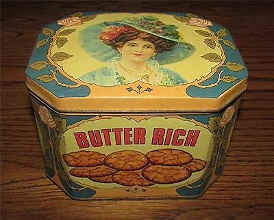Vintage English Butter Rich Biscuit Tin Canister-Empty