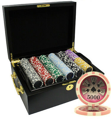 500pcs 14G HIGH ROLLER CLAY POKER CHIPS SET MAHOGANY CASE CUSTOM BUILD