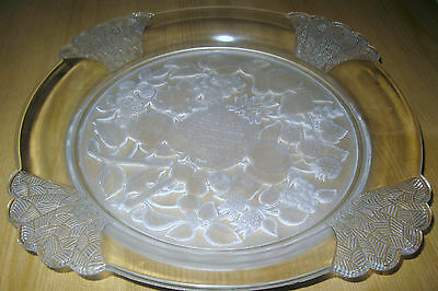 Beautifully Etched Dessert Plate. Frosted Glass Design.