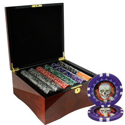 750 Skull Poker Chips Set High Gloss Wood Case Custom Build