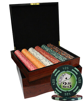 750 Yin Yang Casino Poker Chips Set High Gloss Wood Case Custom Build