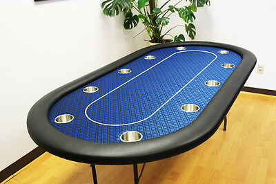 "10 Players Full Size 84"" Texas Holdem Poker Table / Folding Leg Blue Speed Felt"