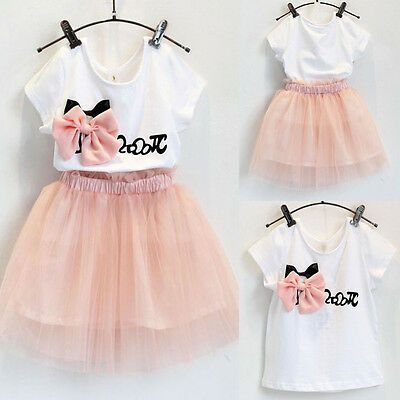 Vestito Bambine T-shirt Manica Corta Top+Tulle Tutu Gonne Outfit Set 2-7Y