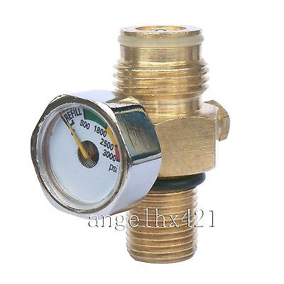 New Paintball Co2 Tank Pin Valve with 3000 Psi Gauge with Thread Cover