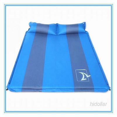 Joinable Double Dual Camping Self Inflating Mattress Mat Air Bed With Pillow Blu