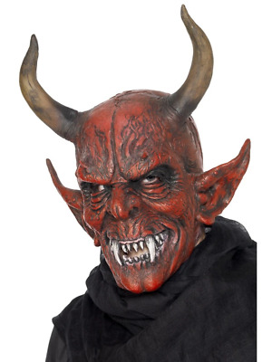 Red Devil Demon Mask Satan Halloween Scary Fancy Dress Costume Accessory