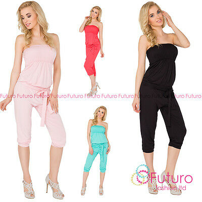 Womens 3/4 Length Jumpsuit With Belt Bandeau Playsuit Catsuit Sizes 8-14 1083