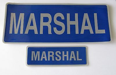 Encapsulated Reflective Marshal Badge Set Blue And Silver Sewn On Or Velcro