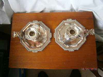 Pair Vintage Antique Old Sheffield Silver Chamber Candle Stick Holders Snuffer