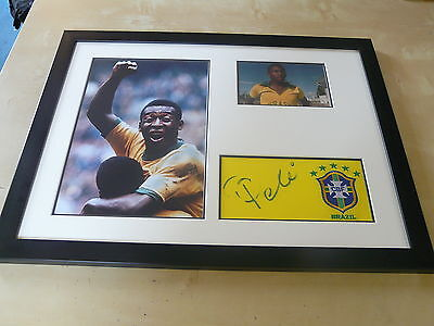 Pele - Brazil - Originally Signed Framed Display Uacc Rd 284 Aftal Rd 36