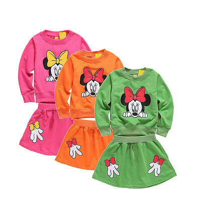 Vestito Bambina Manica Lunga Minnie T-shirt Top+Gonne 2 pz Outfit Set Casual