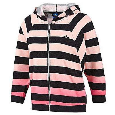 adidas Originals Womens EF Striped Hooded Tracksuit Top UK 6
