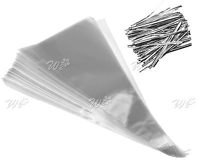 100 x Clear Cellophane Cone Shaped Bags Sweet Candy Party Favor Gift Bags