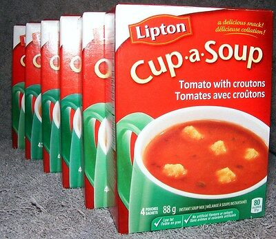 Knorr Lipton Cup-a-Soup Instant Soup-Tomato with Croutons - 6 Boxes - 24 Pouches