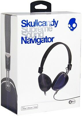 Skullcandy Royal Blue Black Navigator Headphones with Mic for iPhone iPod iPad