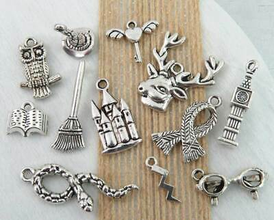 12 HARRY POTTER Charms, Antique Silver Mixed Charm Collection Set Lot US Seller