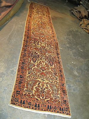 Antique Persian Sarouk Rug Runner 2'-6 x 12'-0 Hand Knotted Wool