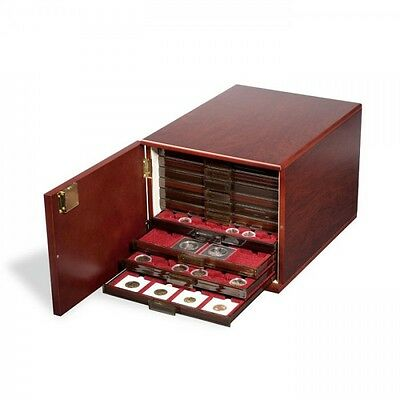 coin Drawer Cabinet for 10 standard coin Drawers, Mahogany colorede (silk-mat)