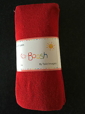 BNWT Ka-Boosh Brand Girls Age 6-8 Years Smart Red Thick Footed Style Tights