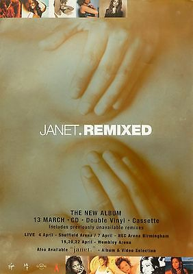 """JANET JACKSON """"JANET.REMIXED"""" U.K. PROMO POSTER -Hands Over Breasts & Tour Dates"""