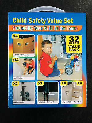BNIB 32 Piece Super Value Child Home Safety Set Locks Protectors Outlet Covers