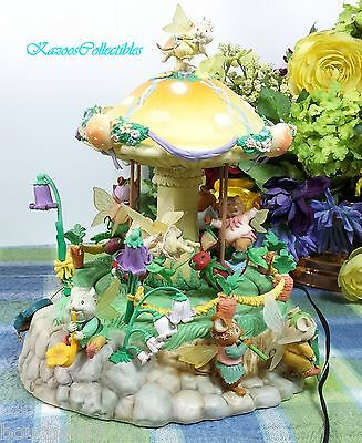 Enesco Melody Meadow Light Up Motion Musical Carousel Mouse Fairies Music box