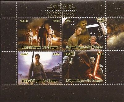 2015 Star Wars The Force Awakens - 4 Stamp Sheet - 3A-499