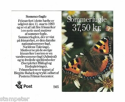 1993 Denmark Butterflies SG 996 Booklet of 10 stamps