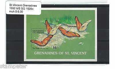 1992 St Vincent & the Grenadines Butterflies MS SG 1926c MUH
