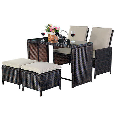 5pc Rattan Patio Set Outdoor Furniture Garden Table+2x Ottomans+2x Chairs Brown
