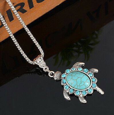 Charm Jewelry Turquoise Rhinestone Turtle Pendant Silver Plated Chain Necklace