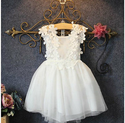 Baby Girl Princess White Lace Dress Tutu Party Wedding Birthday Christening Top