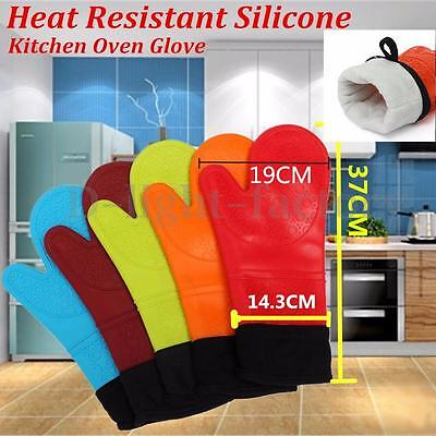 Silicone BBQ Gloves Kitchen Oven Mitts Non Stick Pot Cotton Heat Proof Resistant