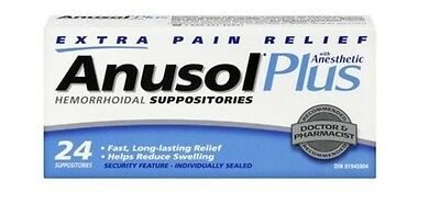 Anusol Plus Extra Pain Relief Anesthetic Hermorrhoid 24 Suppositories