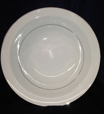 "Noritake Buckingham 9 3/4"" Round Vegetable Bowl White Flowers Platinum Trim"