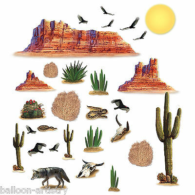 Wild West Desert Party Scene Setter Add On MOUNTAINS ANIMALS Props Decorations