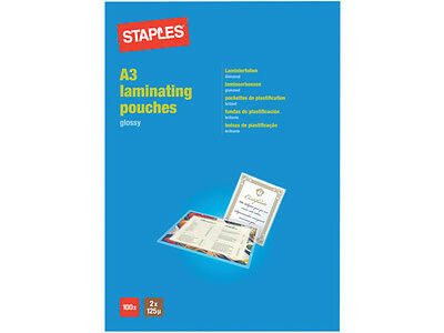 100 A3 2 X 125 / 250 Micron Laminating Glossy Pouches - Free 24 H Courier