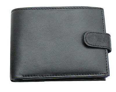RFID Men Real Leather Luxury Soft Wallet Coin Purse Credit Card Holder Black 895