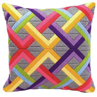 Geometric Inter Woven - Long Stitch Canvas Cushion Kit -Printed Tapestry Canvas