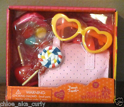 """American Our Generation 18"""" Girl Doll Sweet Tooth Candy Food Purse Glasses set"""