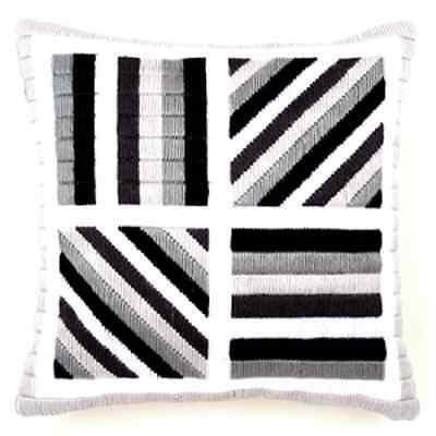 Black Grey Lines - Long Stitch Printed Canvas Cushion Kit-Cross Stitch-Tapestry