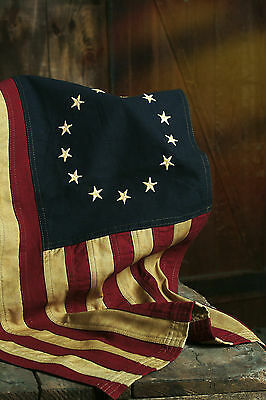 """Primitive Colonial Cotton 25"""" x 16.5"""" Betsy Ross 13 Stars American """"Aged"""" FLAG"""