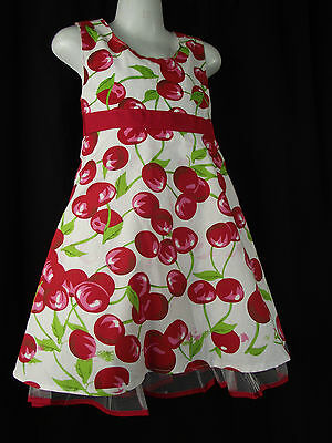 BNWT Girls Sz 5 Net Underlay Red/White Cute Cherry Print Fully Lined Party Dress