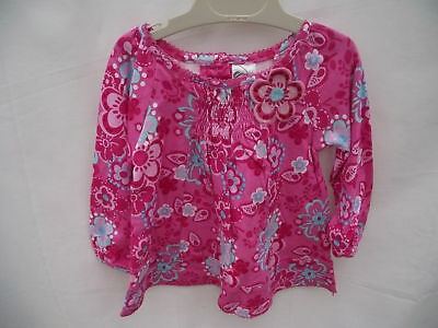 BNWOT Baby Girls Sz 0 Hot Pink Long Sleeve Floral Top