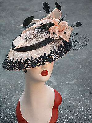 Womens Sinamay Fascinator Cocktail Hat Wedding Occasion Ascot Hatinator A372