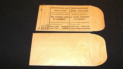 Canadian Bank of Commerce 5 payroll envelopes 1920s strike while the iron is hot