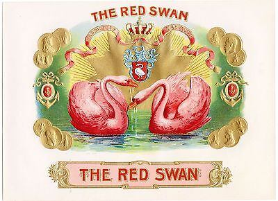 Cigar Box Label Vintage Inner Chromolithography Red Swan Embossed Bronzed C1910