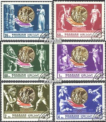Sharjah 518A-523A (complete issue) used 1968 Gold Medalists Oly