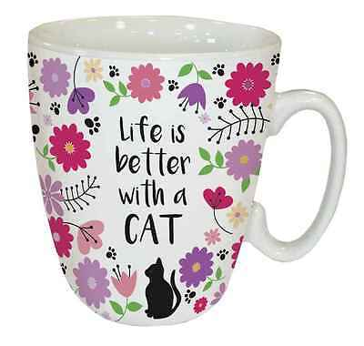 Life is better with a Cat - Floral - Standard Mug
